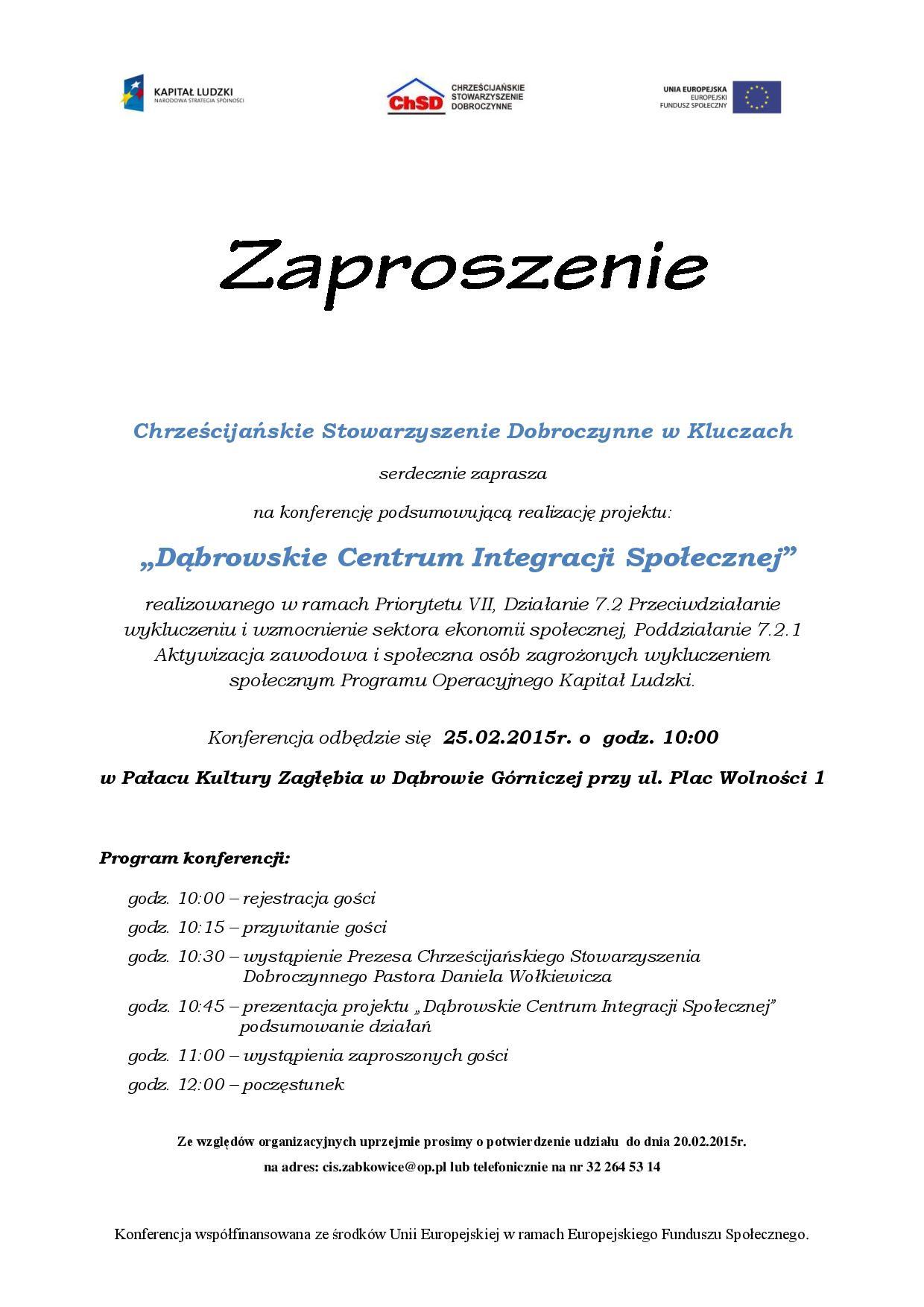Zaproszenie Na Konferencję Podsumowującą Realizację Projektu